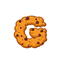 G letter cookies cookie font oatmeal biscuit vector