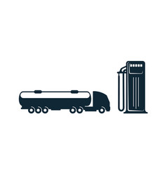 Gasoline tanker truck and fueling station vector