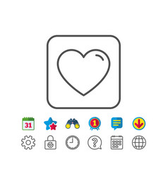 Heart line icon love sign vector