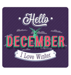 Hello december typographic design vector