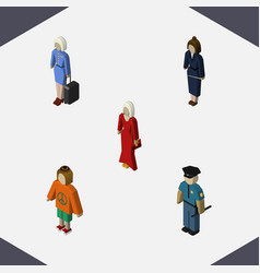 isometric person set of businesswoman female vector image