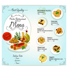 italian pasta restaurant menu template design vector image