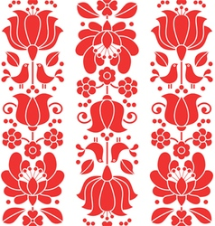 Kalocsai emrboidery red seamless patternn - floral vector image vector image