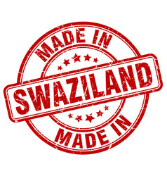 made in swaziland red grunge round stamp vector image vector image