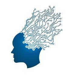 Man Head circuit vector image vector image