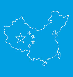 Map of china with flag icon outline style vector