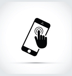Mobile phone touch screen click vector