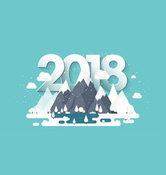 Mountains in winter2018 peak with snow nature vector