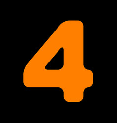 Number 4 sign design template element orange icon vector