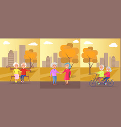 old people in park banner of mature couples vector image vector image