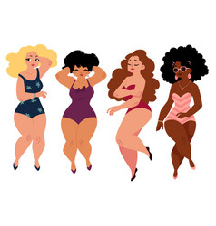 plump curvy women girls plus size models in vector image vector image