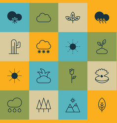 Set of 16 landscape icons includes sprout rain vector
