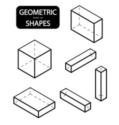 Set of 3d geometric shapes isometric views the vector