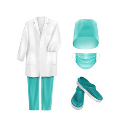 Set of medical uniform clothes accessories vector