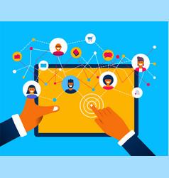 Social media network app concept on tablet device vector