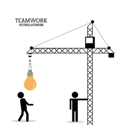 Teamwork support crane pictogram design vector