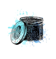Watercolor hand drawn jar with black caviar vector