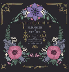 Wild flowers wedding invitation design vector