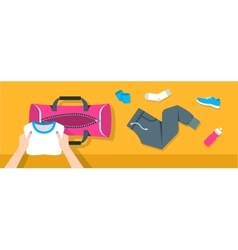 Woman puts fitness stuff into sport bag banner vector