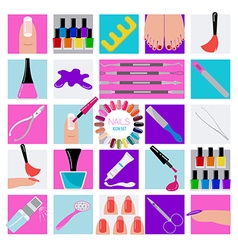 Manicure nail salon icon set vector
