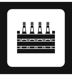 Beer bottles in a wooden box icon simple style vector