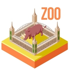 Zoo rhinoceros isometric icon vector