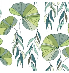 Lily willow branches seamless pattern background vector