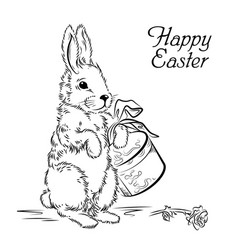 Easter card with rabbit with box and rose vector