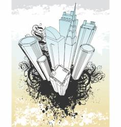 grunge city illustration vector image