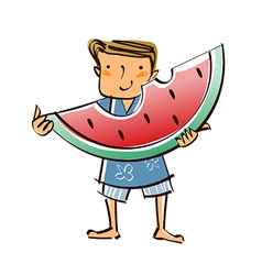 Close-up of boy holding watermelon vector
