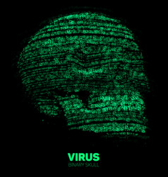 Skull constructed with green binary code vector