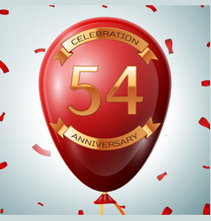 Red balloon with golden inscription 54 years vector