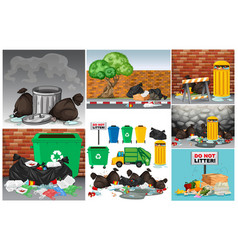 Road scenes with trash and trashcans vector