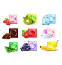 Realistic scented condom set vector