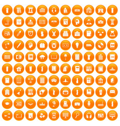 100 library icons set orange vector