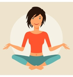 Young cute girl practice yoga vector