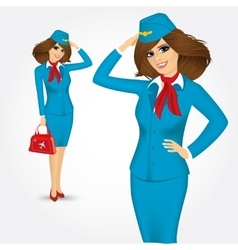 Young stewardess saluting greetings vector