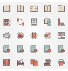 Library colorful icons vector