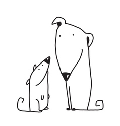 Two cartoon brown dog parent and kid vector
