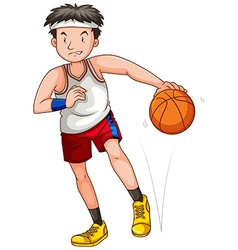 Man playing basketball alone vector