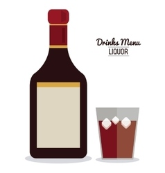 Bottle of wine with glass blank label in flat vector