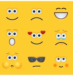 Modern yellow face set background vector