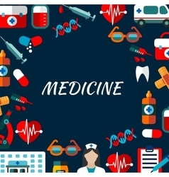 Medicine poster with flat icons vector