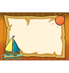 a sun a ship and paper sheet vector image vector image