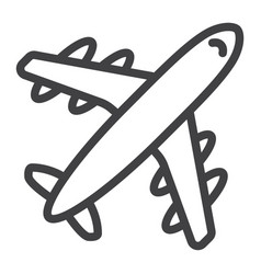 Airplane line icon travel and transport aircraft vector