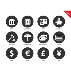 Banking and business icons on white background vector image vector image