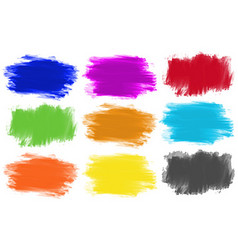 Brushstrokes in nine colors vector