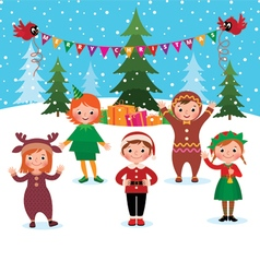 Children celebrate Christmas and New Year vector image vector image