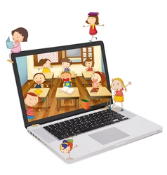 Classroom picture on Laptop vector image