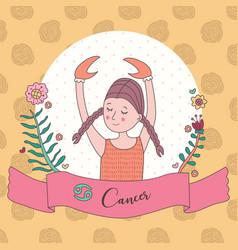 Cute horoscope zodiac girl cancer vector